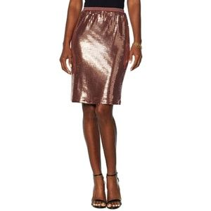 Slinky Brand Sequin Skirt Stretch Copper XL